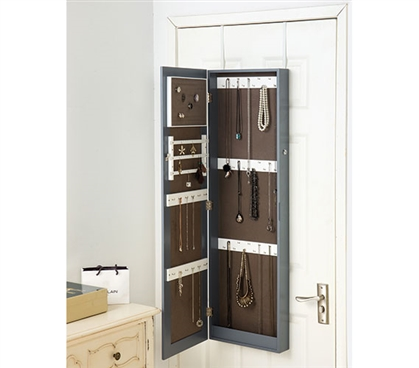 Gray Full-Length Hanging Mirror with Jewelry Cabinet (College-Ave) Dorm Storage Solutions Dorm Essentials