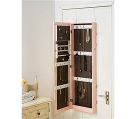 Pink Full-Length Hanging Mirror with Jewelry Cabinet (College-Ave) Dorm Essentials Dorm Storage Solutions Dorm Room Decor