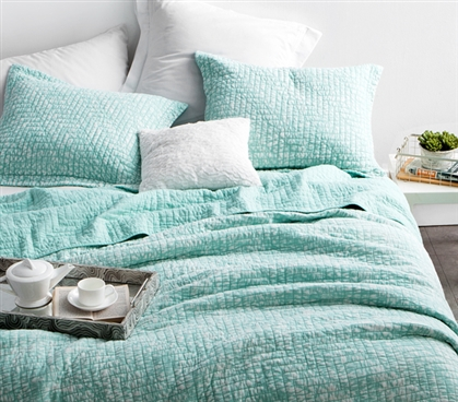 Cool Mint Stone Washed and Textured Quilt for Extra Long Twin Dorm Bedding