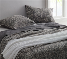 Textured College Twin XL Cotton Quilt in Stone Washed Gray
