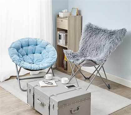 Oversized Butterfly Chair - Mega Furry Plush Dark Gray
