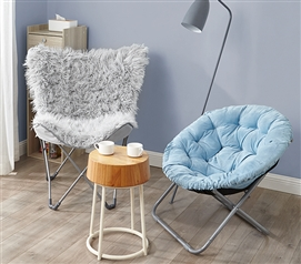 Oversized Butterfly Chair - Mega Furry Plush Glacier Gray