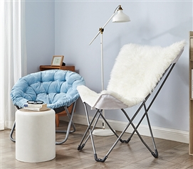 Oversized Butterfly Chair - Mega Furry Plush White