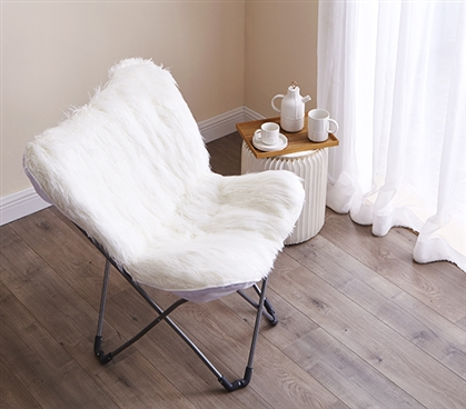 Fur Butterfly Dorm Chair - White