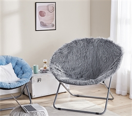 Giant Moon Chair - Mega Furry Plush Dark Gray