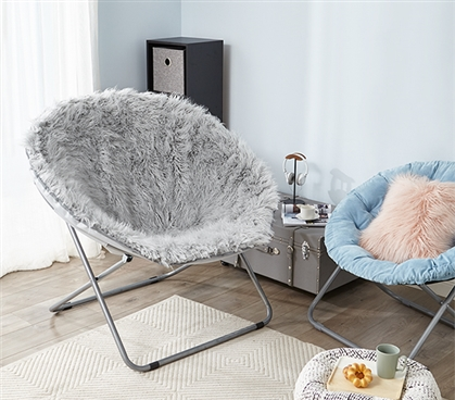 Giant Moon Chair - Mega Furry Plush Glacier Gray