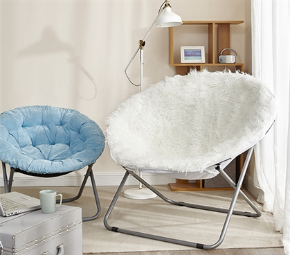 Giant Moon Chair - Mega Furry Plush White