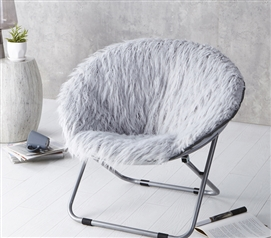 Gray Dorm Room Seating One of a Kind Furry Comfortable College Furniture Moon Chair