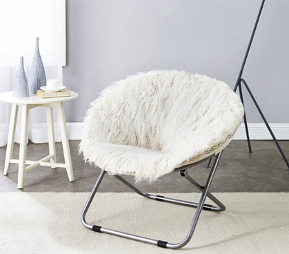 Comfortable Furry College Chair Stylish Polar White Fur Moon Chair Must Have Dorm Furniture