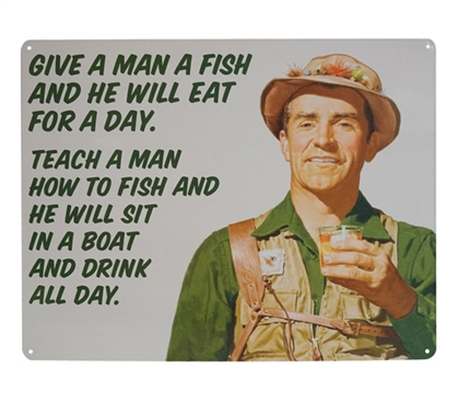 College Supplies Dorm Essentials Give a Man a Fish College Tin Sign Dorm Room Decor