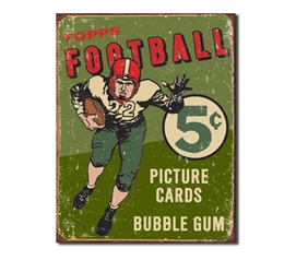 Tin Sign Dorm Room Decor super old school football sports cards on tin sign for dorms and aparments