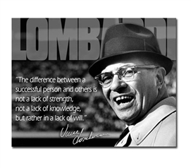 Tin Sign Dorm Room Decor Vince Lombardi quote and photograph on vintage tin sign for college wall decoration