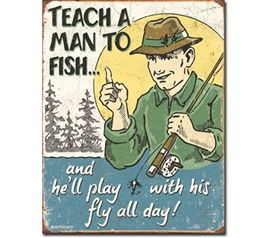 Tin Sign Dorm Room Decor funny fishing jokes illustration on tin sign for dorm and college apartment decoration
