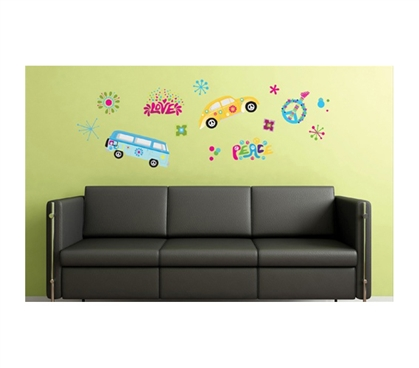 Sixties Peace & Love Peel N Stick Dorm decor