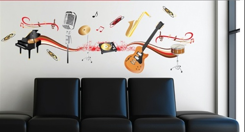 Band Play - Dorm Room Wall Decor Peel N Stick - Music Themed Dorm ...