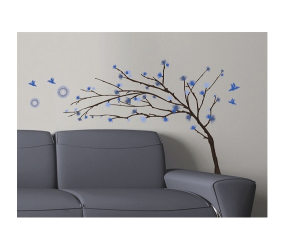 Blue Branches - Dorm Room Wall Decor Peel N Stick - Decorations ...