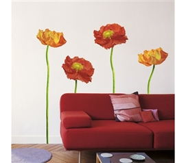 4 Red Poppies Design  Peel N Stick Wall Decor for Living Space Dorm Room Decor College Supplies