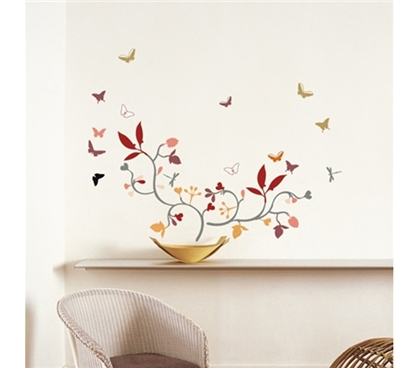 Spring Butterflies - Dorm Room Wall Peel N Stick College Wall Art