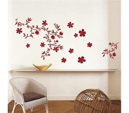 Floral Red - Dorm Room Wall Decor Peel N Stick College Decorations