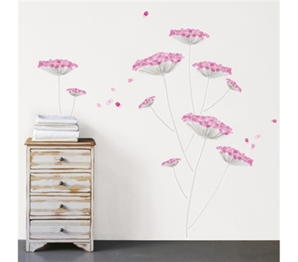 Pink Dandelion - Dorm Room Wall Peel N Stick Removable Dorm Wall Decorations