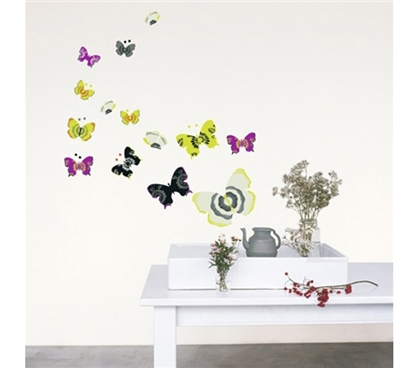 Butterfly Art - Dorm Room Wall Peel N Stick College Wall Art