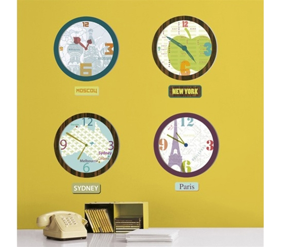 World Clock Art Dorm Room Wall Peel N Stick Stickers for your