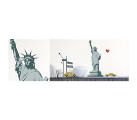 Patriotic Statue of Liberty, NYC & Taxi Cab - Peel N Stick Decor