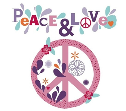 Peace & Love - Dorm Room Wall Peel N Stick College Decor Supplies