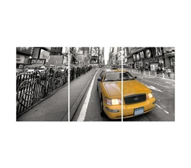 Amazingly Cool 3 Piece - Yellow Taxi Panoramic Wall Art - Peel N Stick