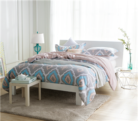 Gray, blue, pink diamond patterned extra long twin college comforter