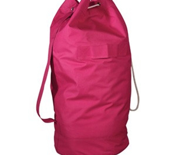 over-the-shoulder pink laundry bag - dorm room laundry essentials