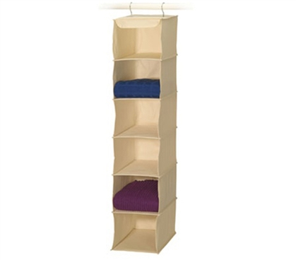 College Dorm Room 6-Shelf Sweater Organizer Canvas Stuff for Dorms