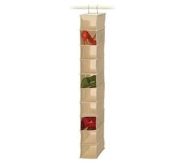 10-Pocket Shoe Shelf Canvas Dorm shoe organizer
