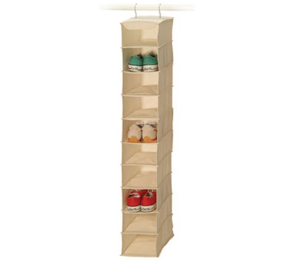 10-Pocket Shoe Shelf Canvas For Men's shoes, Boots Dorm shoe organizer