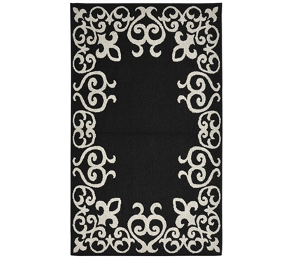 Bordeaux College Rug - Black and Silver Dorm Rug Dorm Essentials