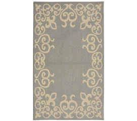 Bordeaux College Rug - Silver and Ivory Dorm Area Rug