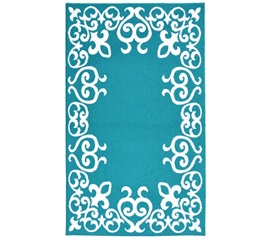 Bordeaux College Rug - Teal and White Dorm Rug Dorm Room Decorations