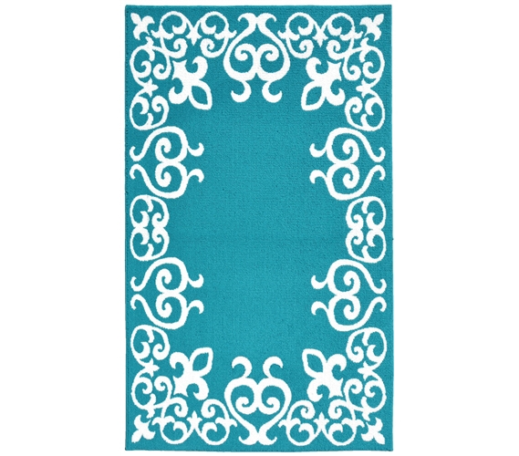 Bordeaux College Rug   Teal And White Part 48