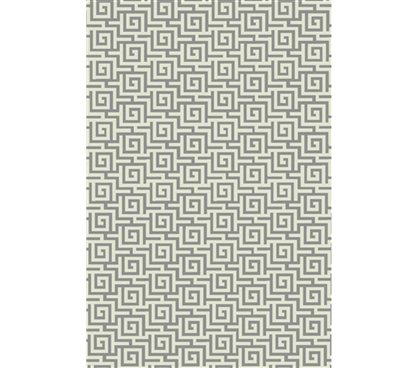 Egyptian Print College Rug Ivory And Silver