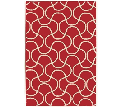 Create Your Home - Infinity College Rug - Crimson and Ivory