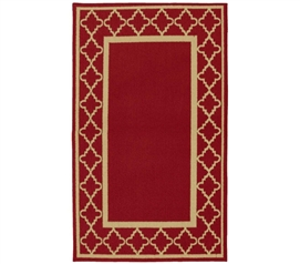 Create an Atmosphere - Moroccan Frame College Rug - Chili Red