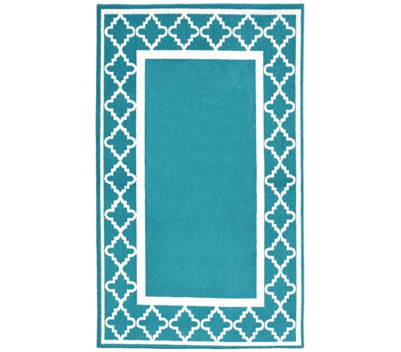moroccan frame college rug - teal and white - dorm rugs college