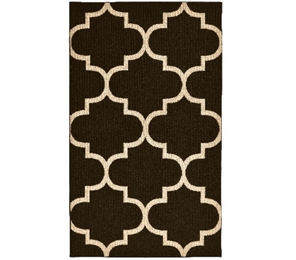 Quatrefoil College Rug - Mocha and Beige Dorm Room Decorations Dorm Room Decor
