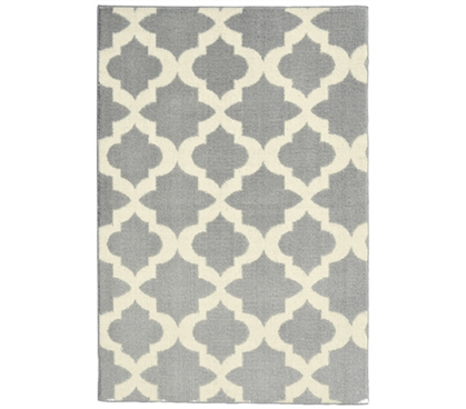 Quatrefoil College Rug - Silver and Ivory