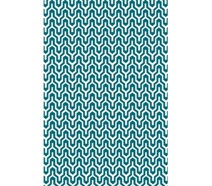 Be Adventurous - Torrent College Rug - Teal and White