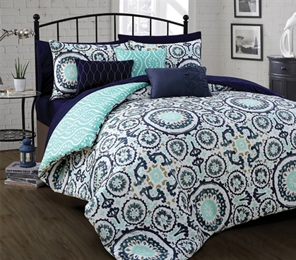 Navy And Mint Patterned Extra Long Twin College Comforter