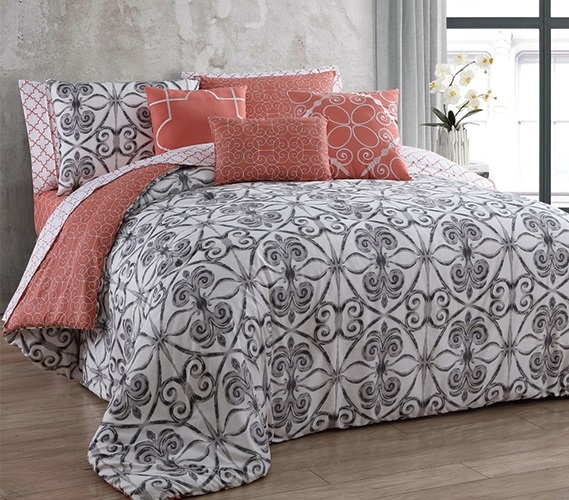 Coral White And Gray College Comforter Extra Long Twin