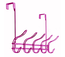 Useful Product For Dorms - Over-Door Metallic Pink Hook Rack - Dorm Closet Essential