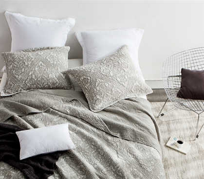 Extra Long Twin College Bedding in Silver Birch Stone Wash Style