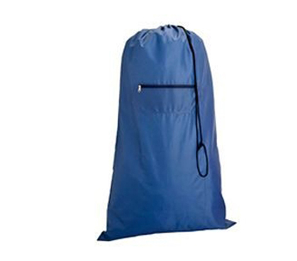 Blue Laundry Bag With Zip Pocket Dorm Laundry Supplies